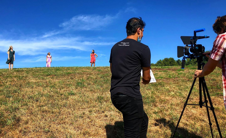 Hussein Hammouda directing on the set of Dominoes